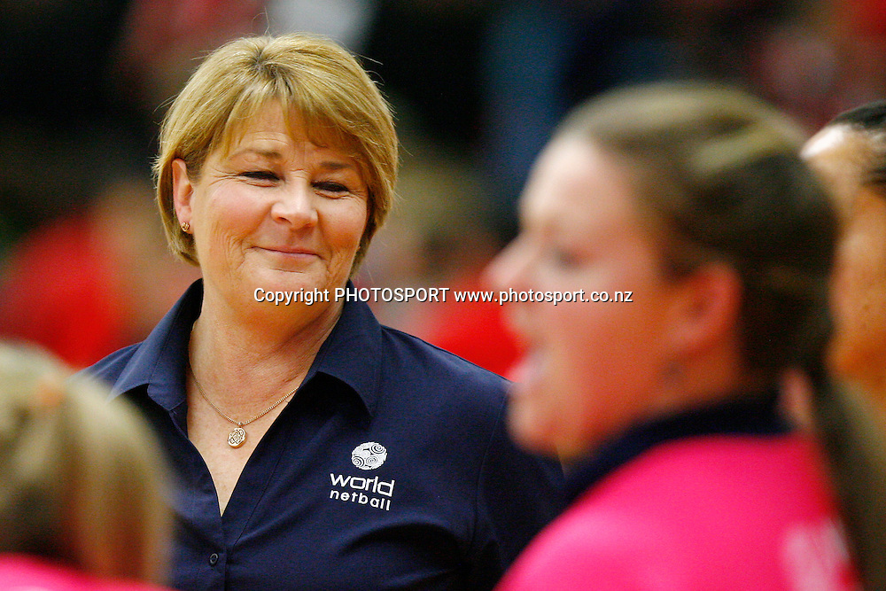 World7's Coach Julie Fitzgerald smiles after the win. New World International Series, 2nd Test, New Zealand Silver Ferns v World 7. Energy Events Centre, Rotorua, New Zealand. Wednesday 26 August 2009. Photo: Anthony Au-Yeung/PHOTOSPORT