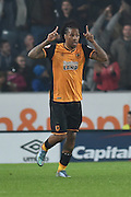 Hull City striker Abel Hernandez celebrates his goal to make it 1 all during the Capital One Cup Fourth Round match between Hull City and Leicester City at the KC Stadium, Kingston upon Hull, England on 27 October 2015. Photo by Ian Lyall.