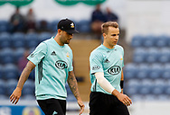 Surrey's Jade Dernbach with team-mate Tom Curran<br /> <br /> Photographer Simon King/Replay Images<br /> <br /> Vitality Blast T20 - Round 14 - Glamorgan v Surrey - Friday 17th August 2018 - Sophia Gardens - Cardiff<br /> <br /> World Copyright &copy; Replay Images . All rights reserved. info@replayimages.co.uk - http://replayimages.co.uk