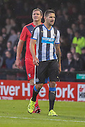 Dave Winfield & Aleksandar Mitrovic during the Pre-Season Friendly match between York City and Newcastle United at Bootham Crescent, York, England on 29 July 2015. Photo by Simon Davies.