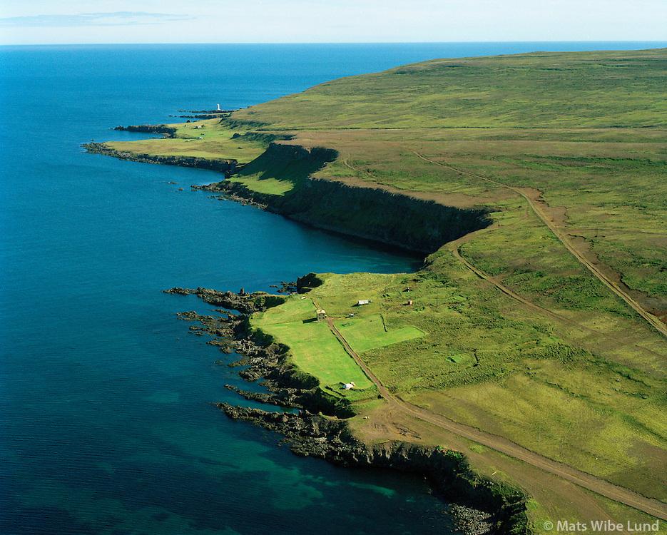 Bjarg séð til austurs að Steintún og Digranes vita, Skeggjastaðahreppur. /  Bjarg viewing east towards Steintun and Digranes lighthouse, Skeggjastadahreppur.