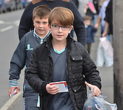 Young bury fans arrive for the Sky Bet League 1 match between Bury and Coventry City at Gigg Lane, Bury, England on 26 September 2015. Photo by Mark Pollitt.
