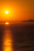 Golden sunset over Santa Cruz Island and the Pacific Ocean (aerial), Channel Islands National Park, California