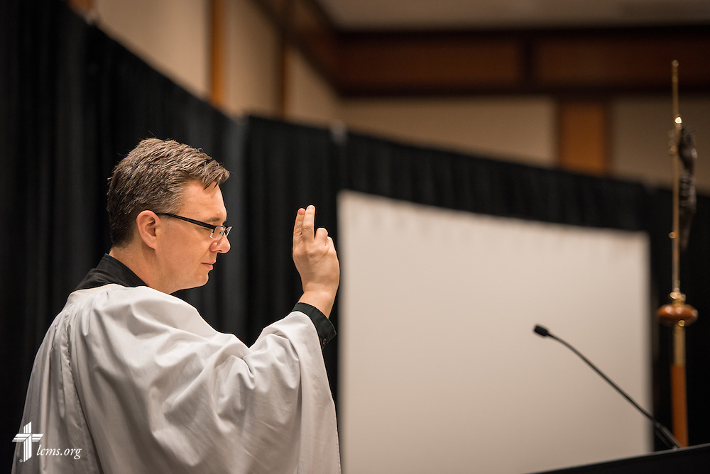 The Rev. Christopher Esget, LCMS sixth vice-president and pastor of Immanuel Evangelical-Lutheran Church in Alexandria, Va., gives a benediction during the Let's Talk Life, Marriage and Religious Liberty event on Tuesday, September 8, 2015, in Washington, D.C. LCMS Communications/Erik M. Lunsford