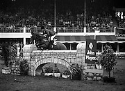 "07/08/1980<br /> 08/07/1980<br /> 07 August 1980<br /> R.D.S. Horse Show: John Player International, Ballsbridge, Dublin. Harvey Smith (Great Britain) on ""Sanyo Sammer""."