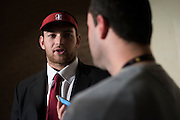 Flower Mound Marcus High School senior tight end Kaden Smith speaks with the media after signing his National Letter of Intent to play football at Stanford University during his high school signing day on February 3, 2016. (Cooper Neill for The New York Times)