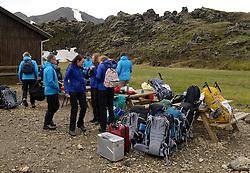 05-07-2014 NED: Iceland Diabetes Challenge dag 1, Landmannalaugar <br /> Vandaag ging de challenge van start. Met een bus gingen we van Vogar naar Landmannalaugar en zagen we de eerste tekenen van het prachtige landschap van IJsland / Henk, Anne-Marie, Sasja