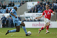 Photo: Lee Earle.<br /> Coventry City v Barnsley. Coca Cola Championship. 17/03/2007.Coventry's Dele Adebola (L) scores their third goal.