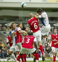 Photo: Aidan Ellis.<br /> Blackburn Rovers v Arsenal. The FA Barclays Premiership. 19/08/2007.<br /> Blackburn's Ryan Nelsen heads against the post
