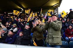 Worcester Warriors fans celebrates at the end of the game as Worcester Warriors beat Bristol Rugby - Mandatory by-line: Dougie Allward/JMP - 05/03/2017 - RUGBY - Sixways Stadium - Worcester, England - Worcester Warriors v Bristol Rugby - Aviva Premiership