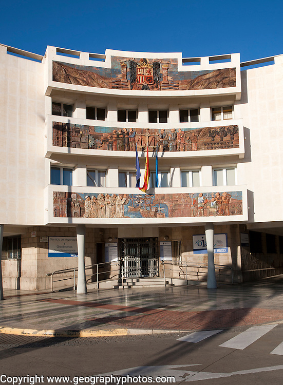Government office with history mural Melilla autonomous city state Spanish territory in north Africa, Spain