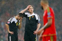 Eden Hazard (Chelsea) and Jan Vertonghen (Tottenham Hotspur) look frustrated - Photo mandatory by-line: Rogan Thomson/JMP - 07966 386802 - 12/06/2015 - SPORT - FOOTBALL - Cardiff, Wales - Cardiff City Stadium - Wales v Belgium - EURO 2016 Qualifier.