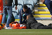 Aristotle Nsiala is treated on the pitch serious injury 12 minute delay during the EFL Sky Bet League 1 match between Rochdale and Shrewsbury Town at Spotland, Rochdale, England on 30 March 2018. Picture by Daniel Youngs.