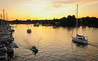 Chesapeake Bay sunset boating on Spa Creek, Annapolis, Maryland USA