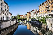 Buildings reflected on Ljubijanica River, Ljubljana, Slovenia