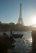 France. Paris.  passerelle Debilly on the Seine river  in the distance, the Eiffel tower / la passerelle Debilly enjambe la seine , au loin la Tour Eiffel