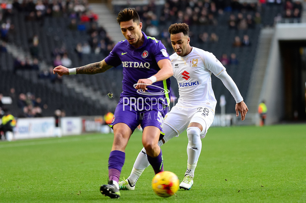 Charlton Athletic defender Jorge Teixeira (50) on defensive duties during the EFL Sky Bet League 1 match between Milton Keynes Dons and Charlton Athletic at stadium:mk, Milton Keynes, England on 26 December 2016. Photo by Dennis Goodwin.