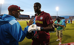 West Indies Carlos Brathwaite leaves the field at the end of the ICC Cricket World Cup group stage match at Old Trafford, Manchester.