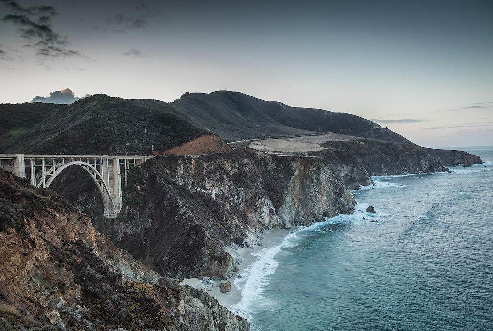 Bixby Bridge in Big Sur, California photographed at sunrise on a cool November morning.