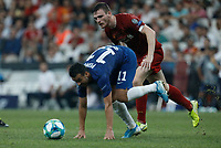 ISTANBUL, TURKEY - AUGUST 14: Andrew Robertson (R) of Liverpool and Pedro of Chelsea vie for the ball during the UEFA Super Cup match between Liverpool and Chelsea at Vodafone Park on August 14, 2019 in Istanbul, Turkey. (Photo by MB Media/Getty Images)