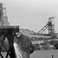 Eric Scott cutting up the bridge at Cadeby Colliery.
