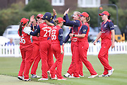 Lancashire Thunders celebrate a wicket during the Women's Cricket Super League match between Lancashire Thunder and Western Storm at Chester Broughton Hall, Chester, United Kingdom on 18 August 2019.