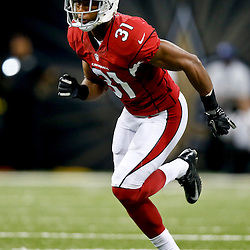 Sep 22, 2013; New Orleans, LA, USA; Arizona Cardinals cornerback Justin Bethel (31) against the New Orleans Saints during a game at Mercedes-Benz Superdome. The Saints defeated the Cardinals 31-7. Mandatory Credit: Derick E. Hingle-USA TODAY Sports