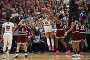 South Carolina Gamecocks forward A'ja Wilson #22 drives to the basket against the Mississippi State Lady Bulldogs during the NCAA Women's Championship game at the American Airlines Center in Dallas, Texas on April 2, 2017.  (Cooper Neill for The Players Tribune)