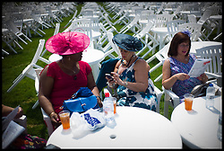 Racegoer's study the field  in the Grandstand  at Royal Ascot Day 2-Racing Fans<br /> Ascot, United Kingdom<br /> Wednesday, 19th June 2013<br /> Picture by Andrew Parsons / i-Images