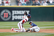 CHICAGO, IL - APRIL 28: Desmond Jennings #8 of the Tampa Bay Rays gets tagged out trying to steal second base by Alexei Ramirez #10 of the Chicago White Sox during the game at U.S. Cellular Field on April 28, 2013 in Chicago, Illinois. (Photo by Joe Robbins)