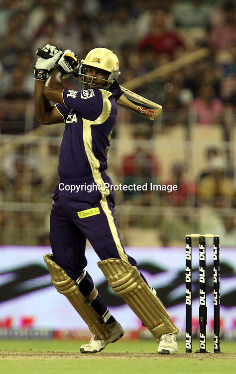 Kolkata Knight Riders Batsman Chris Gayle Hit The Shot Against Delhi Daredevils During The Indian Premier League - 39th match Twenty20 match | 2009/10 season Played at Eden Gardens, Kolkata 7 April 2010 - day/night (20-over match)
