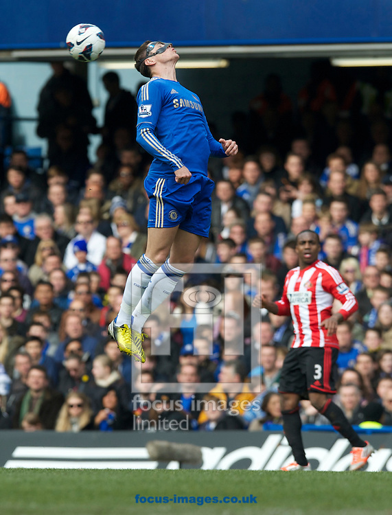 Picture by Alan Stanford/Focus Images Ltd +44 7915 056117.07/04/2013.Fernando Torres of Chelsea gets high in the air to head the ball on during the Barclays Premier League match at Stamford Bridge, London.