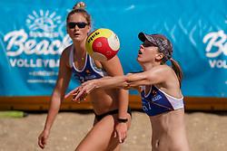 23-08-2019 NED; DELA NK Beach Volleyball Qualification, Scheveningen<br /> First day NK Beachvolleyball / Flore Gravesteijn, Lauri Luijken