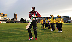 Somerset's Chris Gayle walks off after scoring 85 to win the match. - Photo mandatory by-line: Harry Trump/JMP - Mobile: 07966 386802 - 05/06/15 - SPORT - CRICKET - Somerset v Hampshire - The County Ground, Taunton, England.