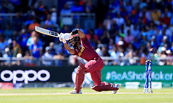 West Indies' Shai Hope is bowled out by India's Mohammed Shami during the ICC Cricket World Cup group stage match at Emirates Old Trafford, Manchester.