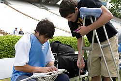 19 April 2008: North Carolina men's lacrosse goalkeeper Grant Zimmerman (9) and Jamie Debole before a 13-9 win over the Hofstra Pride at Kenan Stadium in Chapel Hill, NC.