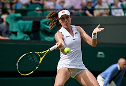 LONDON, ENGLAND - Tuesday, July 2, 2019: Johanna Konta (GBR) during the Ladies' Singles first round match on Day Two of The Championships Wimbledon 2019 at the All England Lawn Tennis and Croquet Club. (Pic by Kirsten Holst/Propaganda)