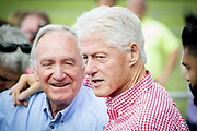 Former US President Bill Clinton together with Iowa Senator Tom Harkin at Harkin's annual barbeque party.