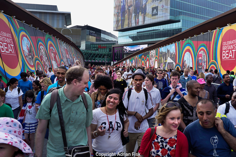 Heading from the Olympic Park towards public transport in Stratford