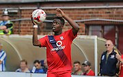 David Tutonga  during the Sky Bet League 2 match between York City and Hartlepool United at Bootham Crescent, York, England on 15 August 2015. Photo by Simon Davies.