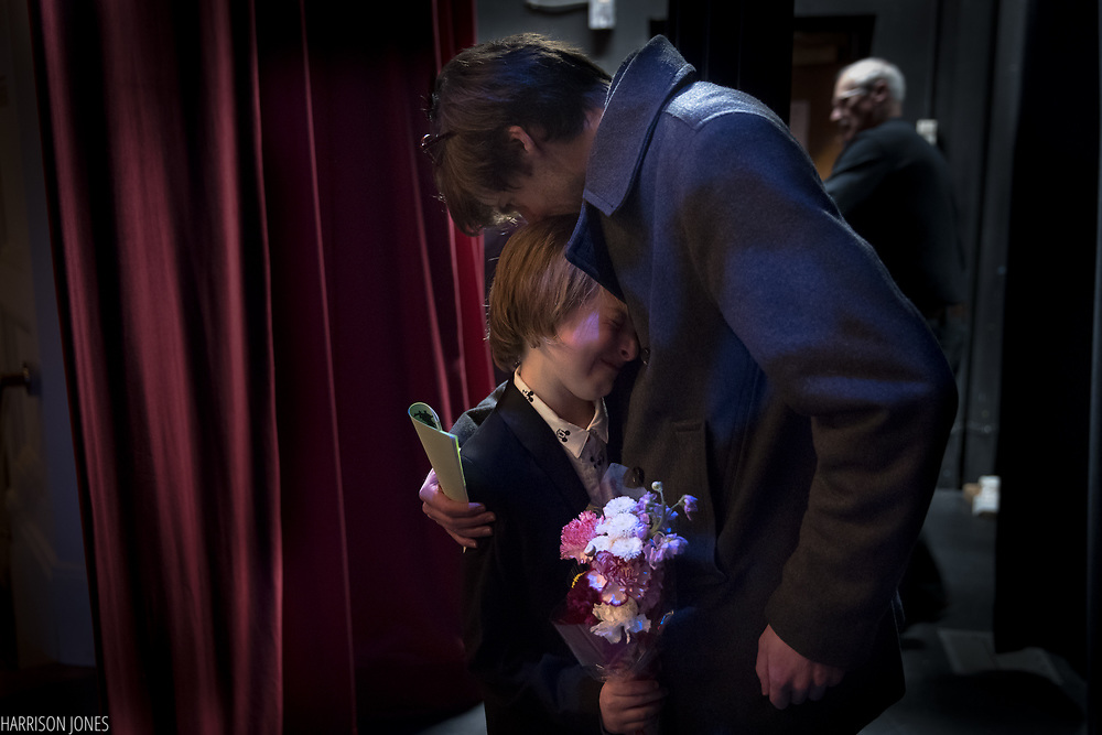 "Rowan Barber, 10, embraces his dad, Doug Barber, of Hanover, after winning the 8th Annual Hanover Has Talent Show on Saturday, Feb. 3, 2018 at the Eichelberger Performing Arts center.  Rowan won both the People's Choice and first place in the competition, electing to donate his prizes to the Changing Lives Homeless Shelter. ""Family and friends make you happy,"" said Rowan, ""not money."""