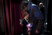 """Rowan Barber, 10, embraces his dad, Doug Barber, of Hanover, after winning the 8th Annual Hanover Has Talent Show on Saturday, Feb. 3, 2018 at the Eichelberger Performing Arts center.  Rowan won both the People's Choice and first place in the competition, electing to donate his prizes to the Changing Lives Homeless Shelter. """"Family and friends make you happy,"""" said Rowan, """"not money."""""""