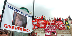 Athens, Greece - Wednesday, May 23, 2007: Liverpool's fan display a banner for Maddie McCan in Syntagma Square ahead of the UEFA Champions League Final against AC Milan. (Pic by Jason Roberts/Propaganda)