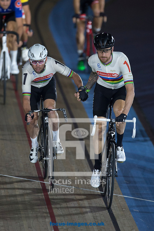Mark Cavendish and Sir Bradley Wiggins in action on day one of the Six Day cycling series at Lee Valley VeloPark, London, UK<br /> Picture by Ryan Dinham/Focus Images Ltd +44 7900 436859<br /> 25/10/2016