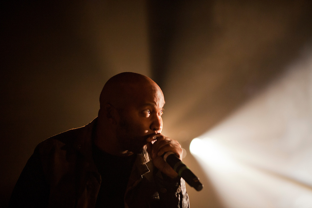 Hip hop artist P.O.S. performs with Minneapolis hip hop collective Doomtree at The Englert Theater in Iowa City, Iowa on Friday, November 6, 2015 during the first day of the Witching Hour Festival. The new festival aims to engage with the unknown through performance and dialogue.