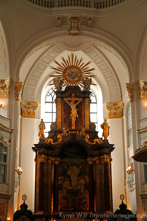 Europe, Germany, Hamburg. St. Michael's Church altar.