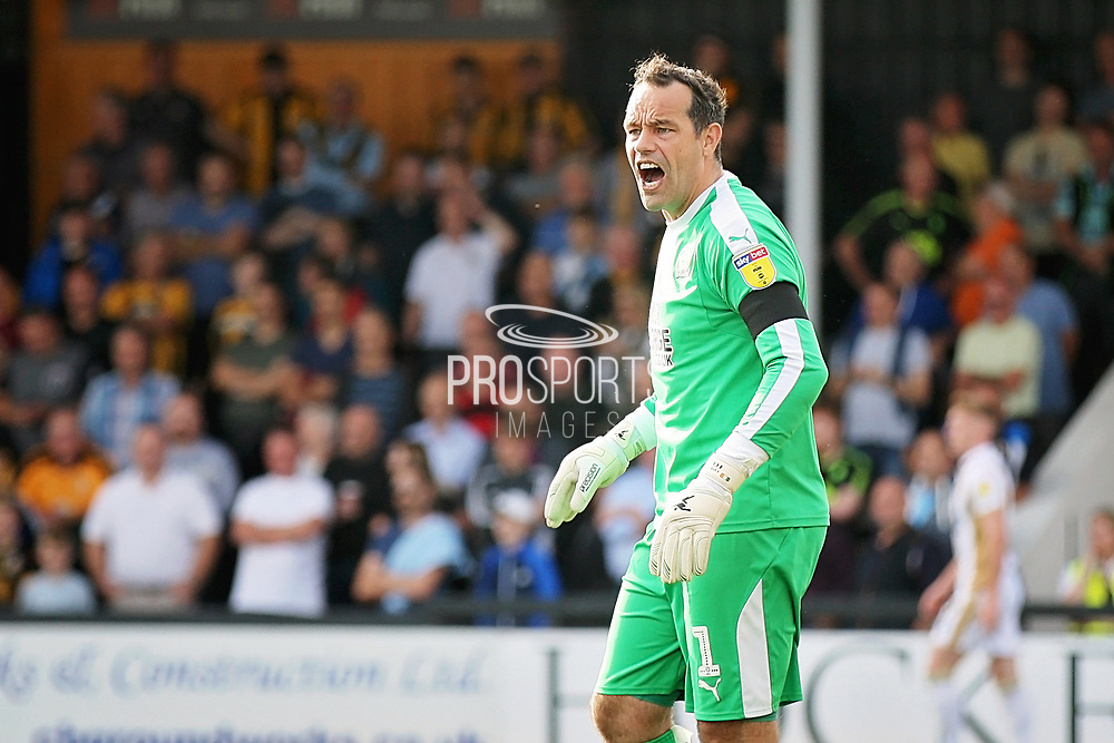 Cambridge United goalkeeper David Forde(1) takes up a point with the linesman during the EFL Sky Bet League 2 match between Cambridge United and Milton Keynes Dons at the Cambs Glass Stadium, Cambridge, England on 13 October 2018.