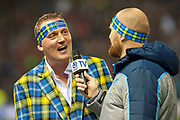 Scotland legend, Doddie Weir is interviewed at half time by Alastair Kellock during the Autumn Test match between Scotland and South Africa at the BT Murrayfield Stadium, Edinburgh, Scotland on 17 November 2018.