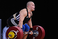 Mart SEIM (EST) in the clean and jerk, The London Prepares Weightlifting Olympic Test Event, ExCel Arena, London, England December 11, 2011.