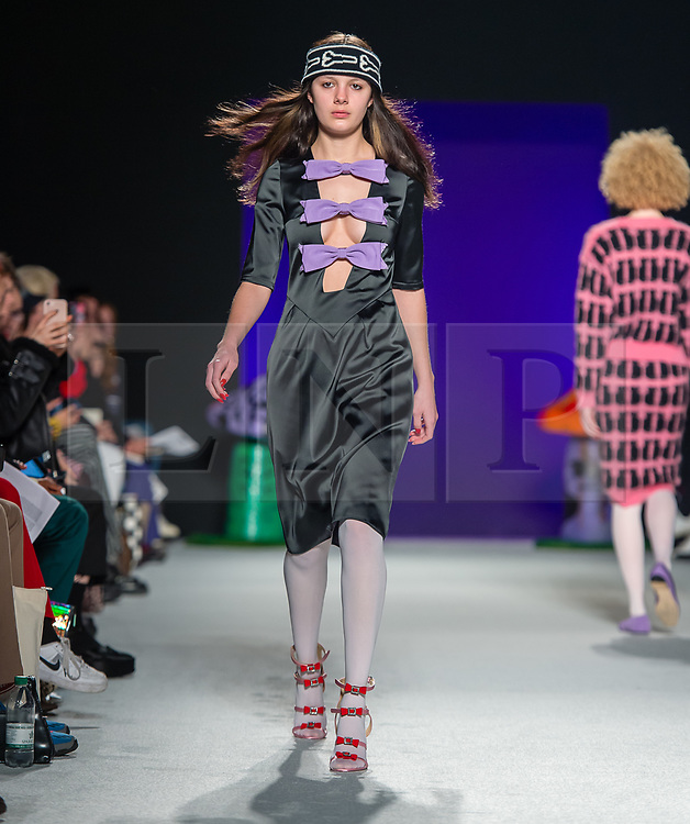 © Licensed to London News Pictures. 15/02/2019. London, United Kingdom. London Fashion Week AW19 - Ashley Williams catwalk show - models on the catwalk. Photo credit : Richard Isaac/LNP